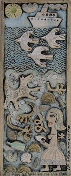 Ceramic Relief 'At The Beach with the Dog'
