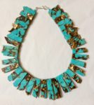 Necklace in resin, bronzite and Turquoise beads