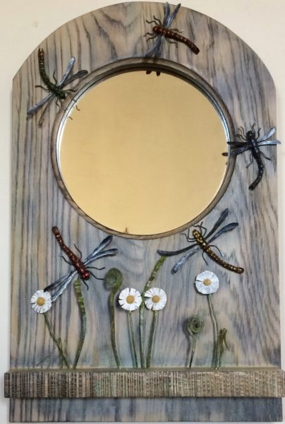 Hand Carved Wooden Dragonfly Mirror