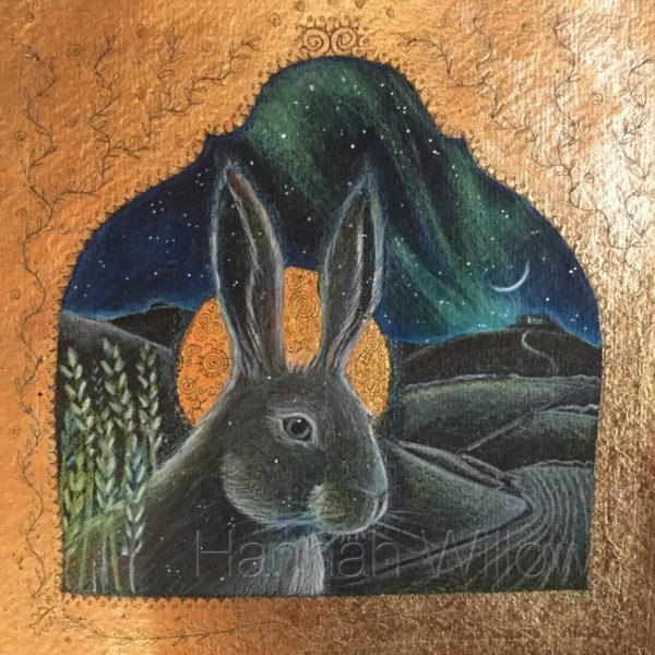 Original pencil, acrylic and 24ct Gold 'The Midnight Hare'