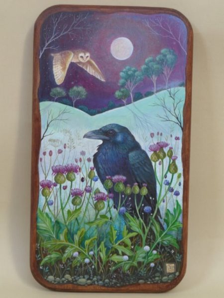Hand painted Oak panel 'Still Of The Night'