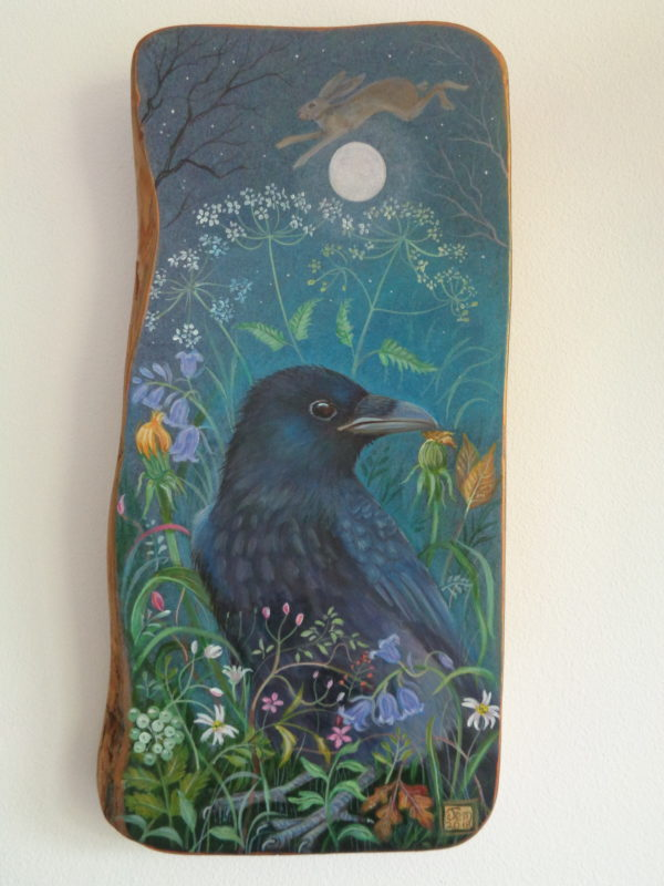 Hand painted Oak panel 'In The Blue Wood'