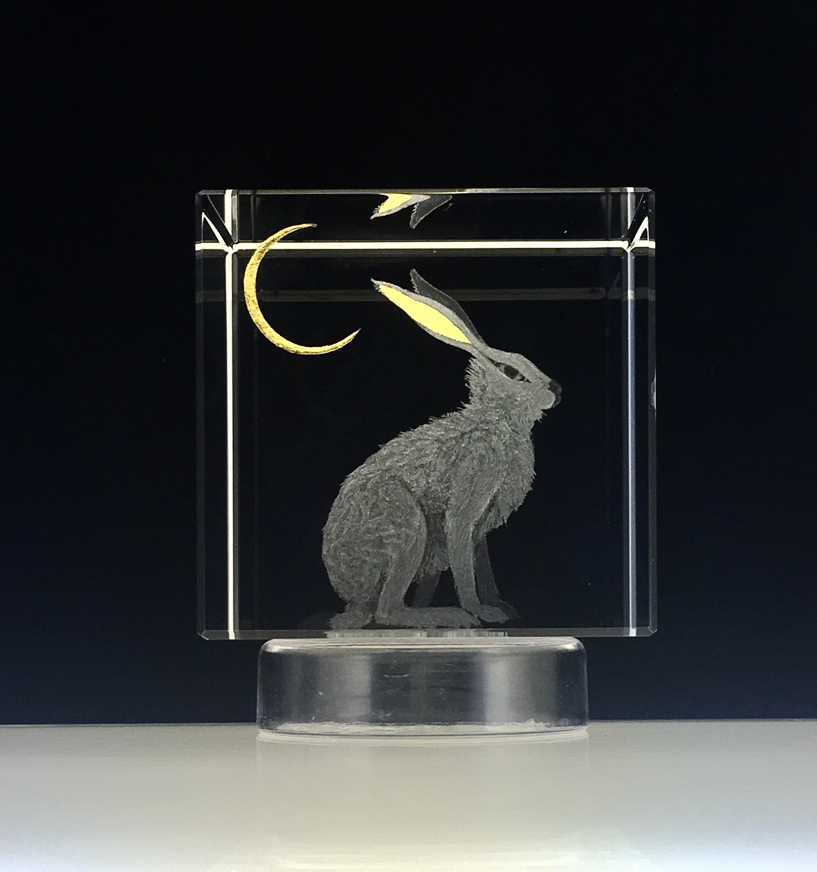 Hand Engraved 'Hare & Moon' Optical Crystal Cube