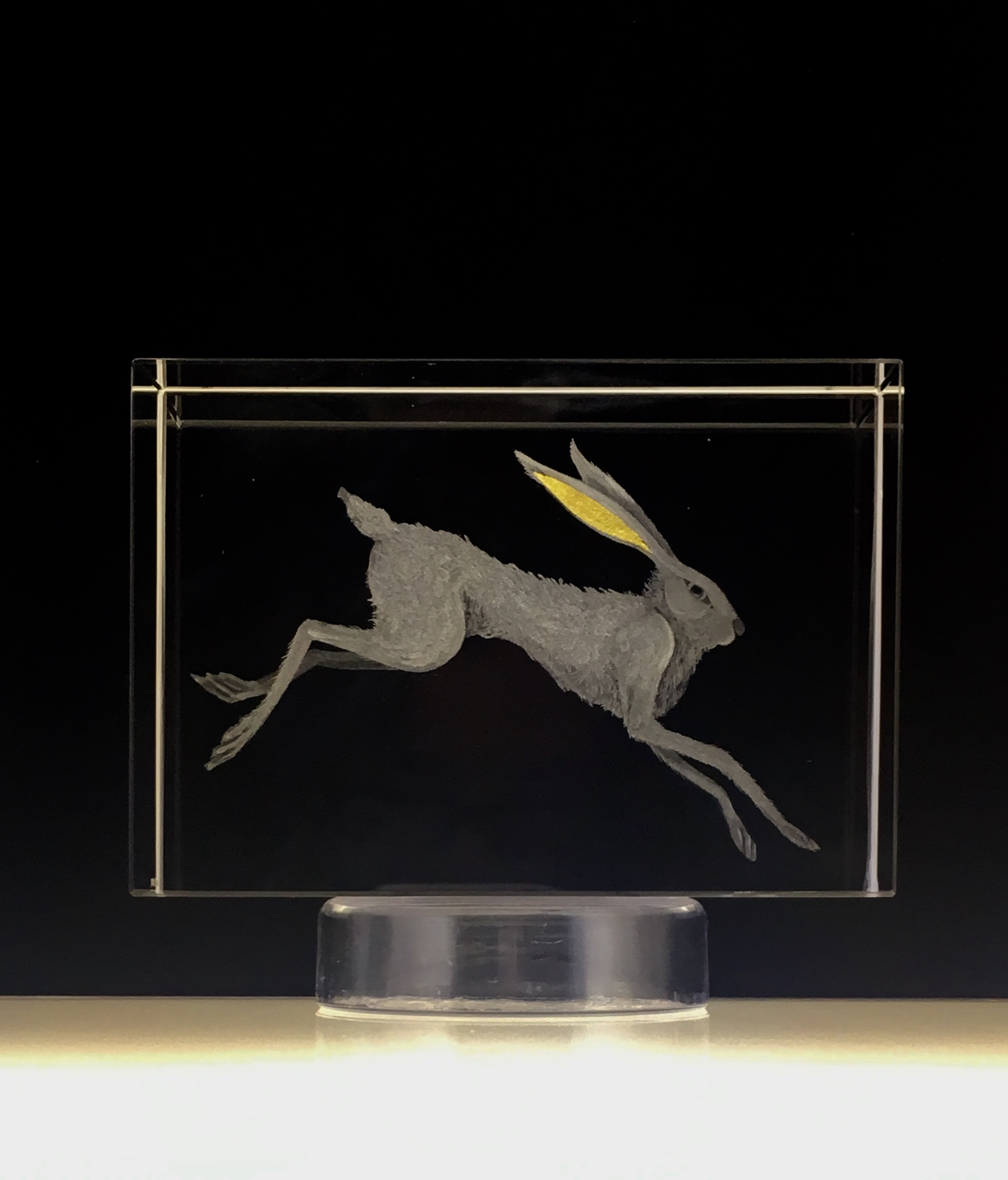 Hand Engraved 'Leaping Hare' Optical Crystal and 24ct Gold Leaf