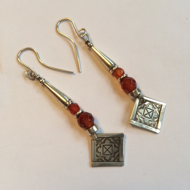 Silver and Faceted Carnelian Earrings