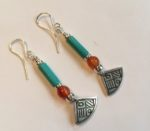 Silver, Turquoise and Orange Agate Earrings