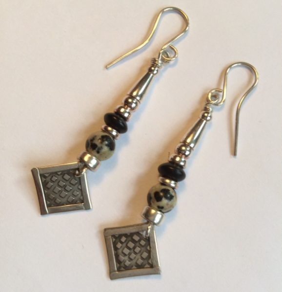 Silver and Dalmation Agate & Matt Onyx Earrings
