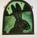 Stained Glass Panel Hare's Head and Swallows