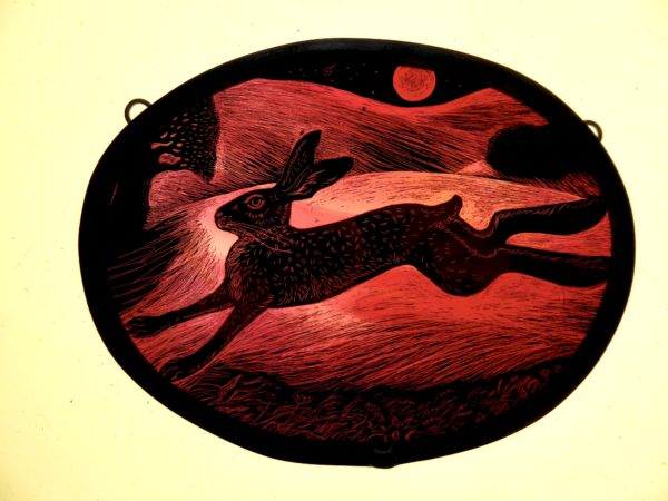 Stained Glass Panel Blood Moon Leaping Hare