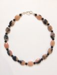 Necklace in Rhodochrosite & Onyx