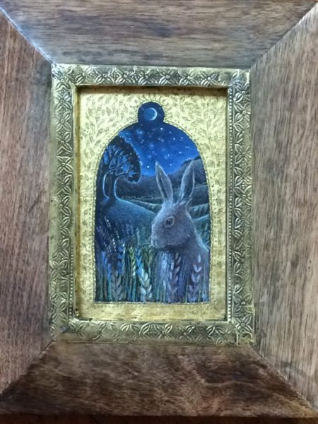 Original pencil, acrylic and 24ct Gold 'Hare Moon'