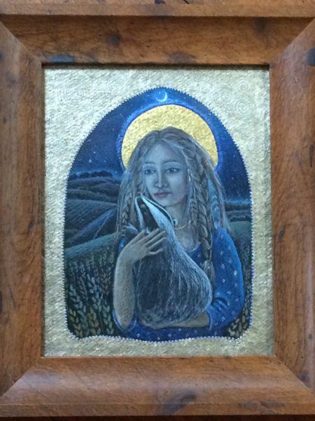 Original pencil, acrylic and 24ct Gold 'The Corn Goddess'