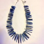 Necklace in Kyanite with Fresh Water Pearls