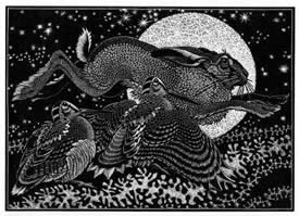 Wood Engraving Hare & Woodcocks