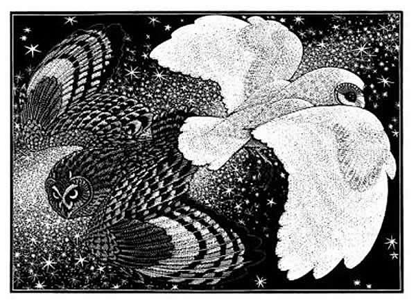 Wood Engraving Nocturnal Encounters