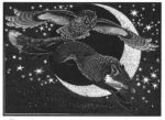 Wood Engraving Fox and Long-eared Owl