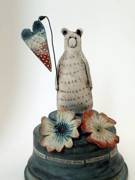 Ceramic and Driftwood sculpture 'Bear Story'
