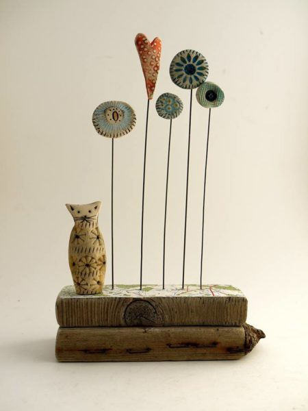 Ceramic and Driftwood Sculpture
