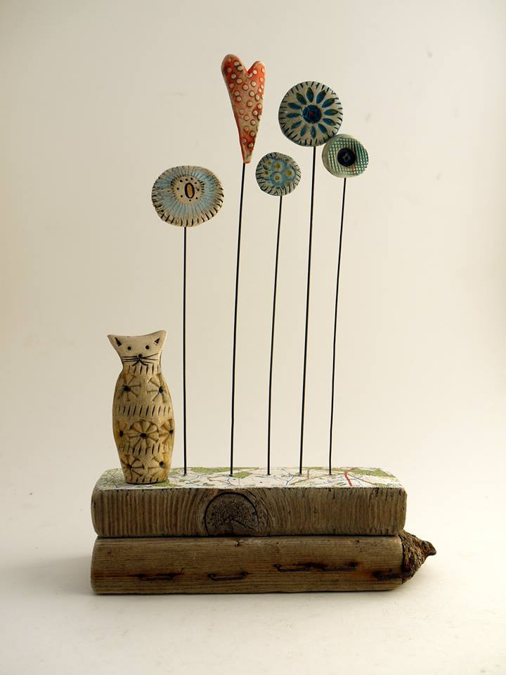 Ceramic and Driftwood Sculpture