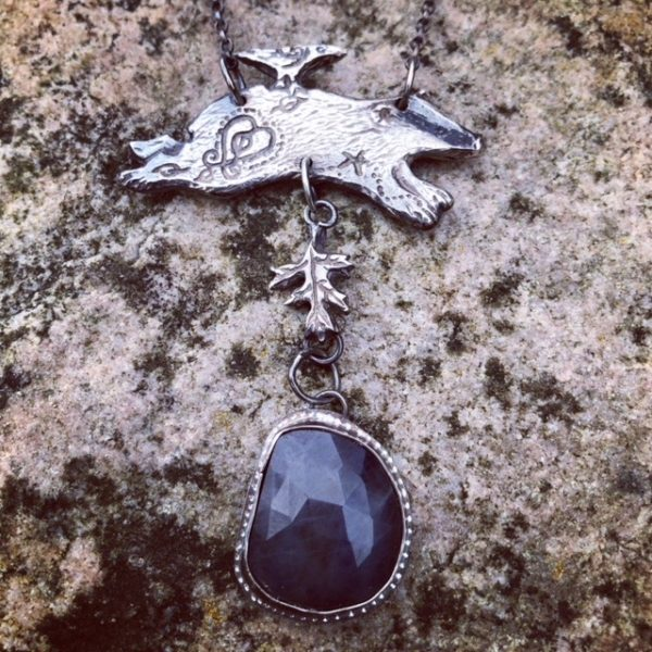 Silver Pendant with Badger and Sapphire