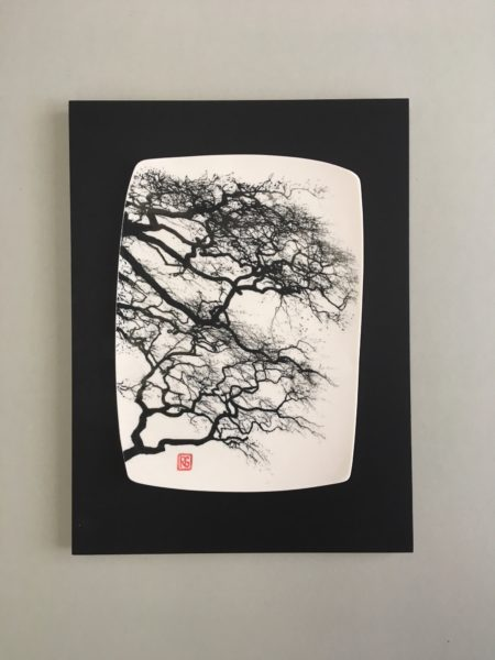 Ceramic Wall Mounted 'Winter Beech' Printed Porcelain