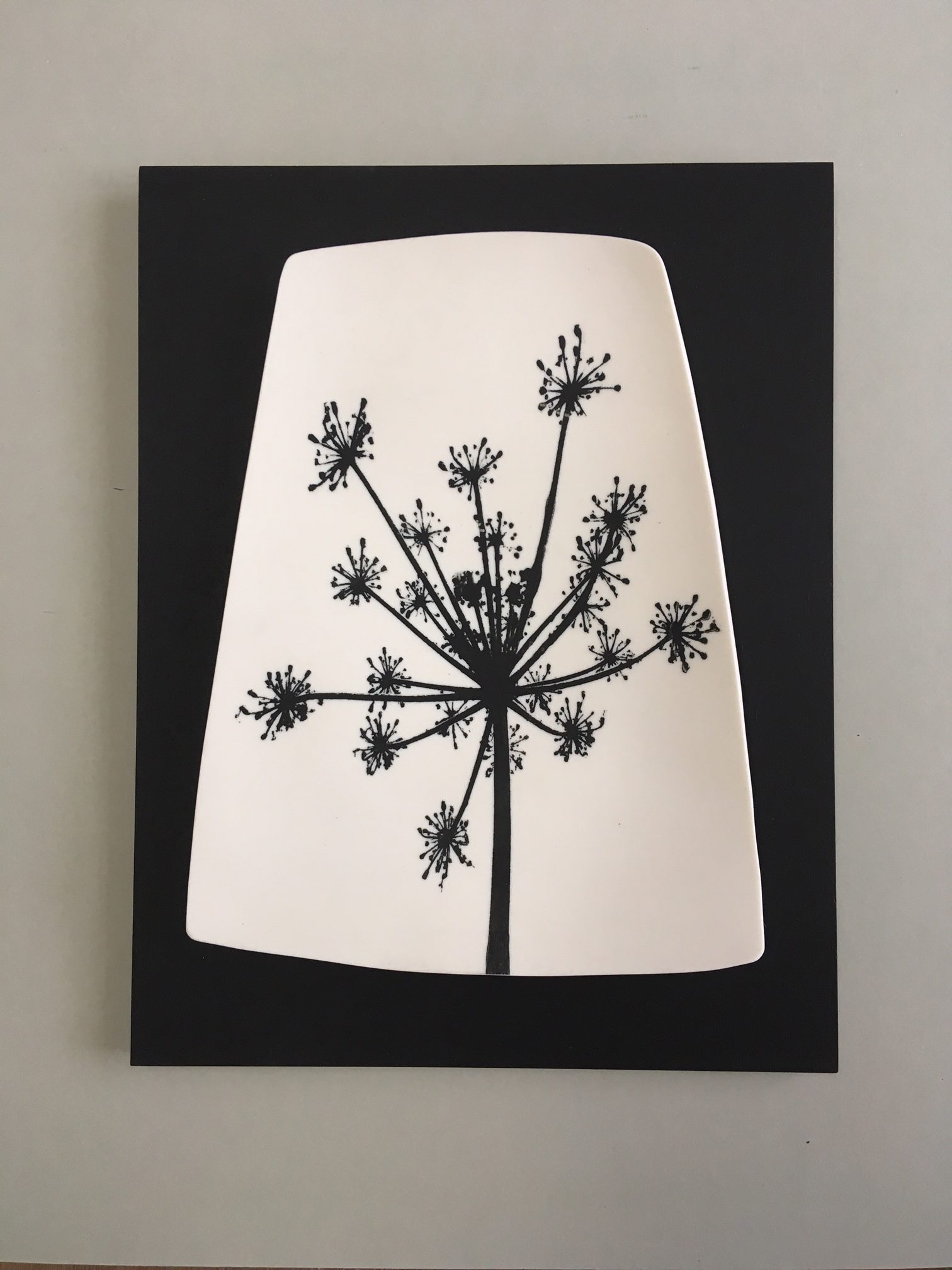 Ceramic Wall Mounted 'Umbellifer' Printed Stoneware