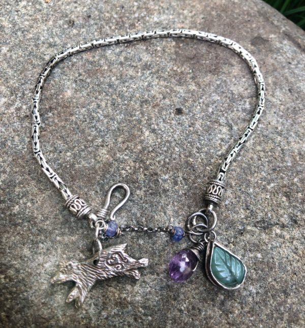 Silver Bear Bracelet with carved emerald leaf