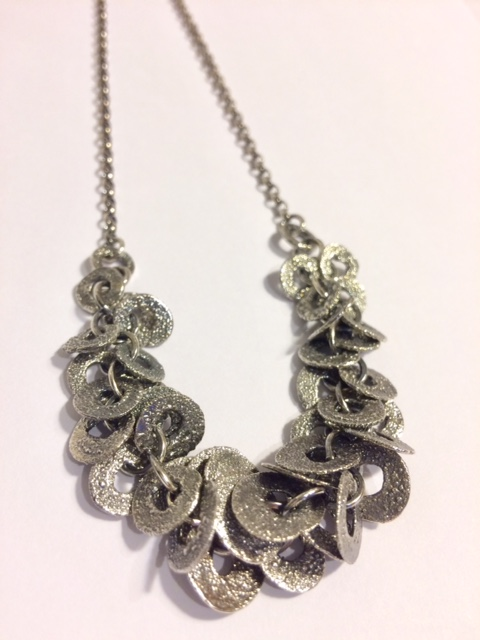 Oxidised Silver Multi-link necklace on belcher chain