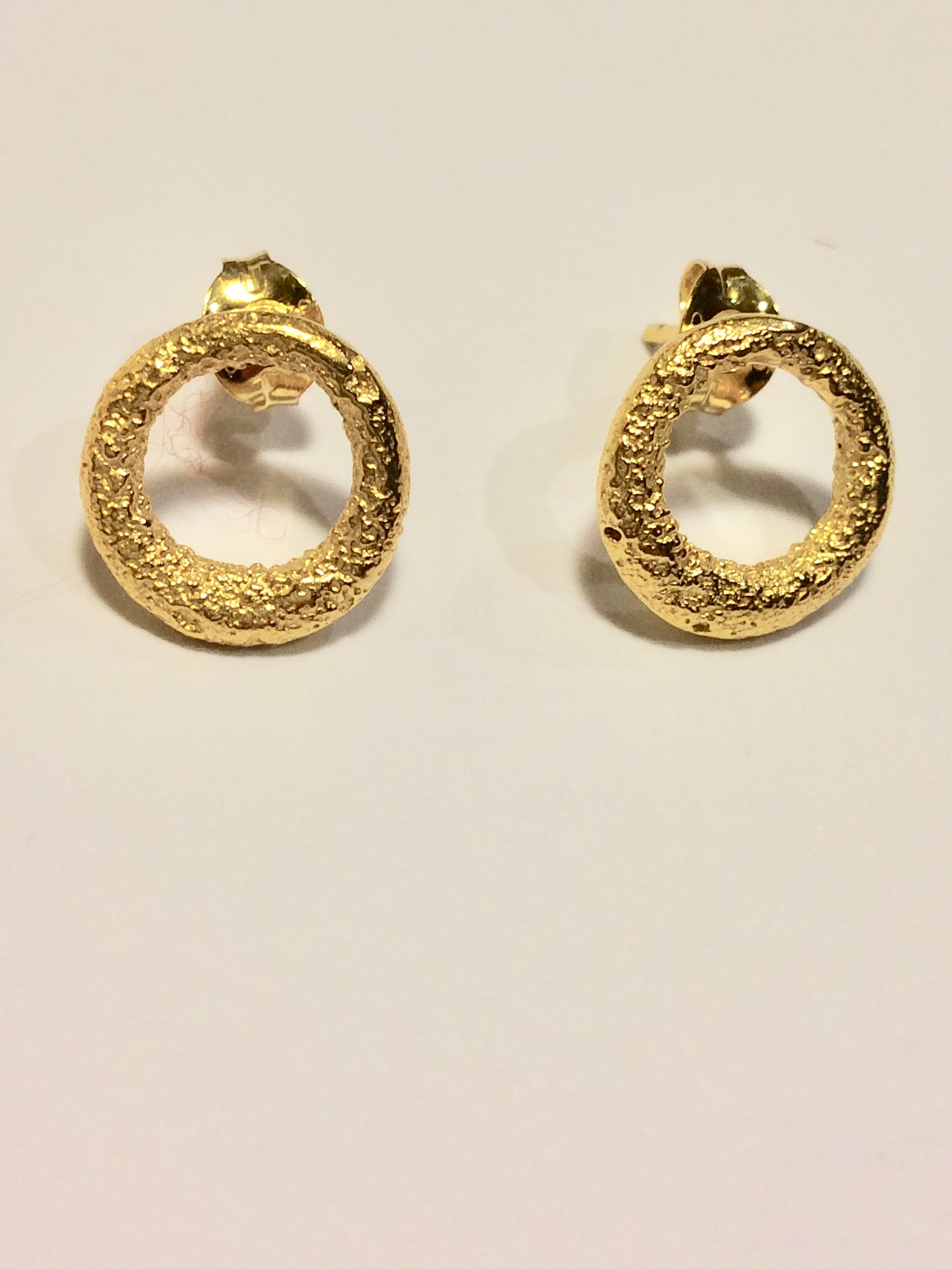 Silver Gilt 18ct Ring Stud earrings