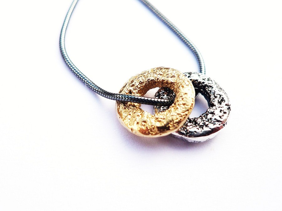Oxidised Silver and 18ct Silver Gilt Two Ring Pendant