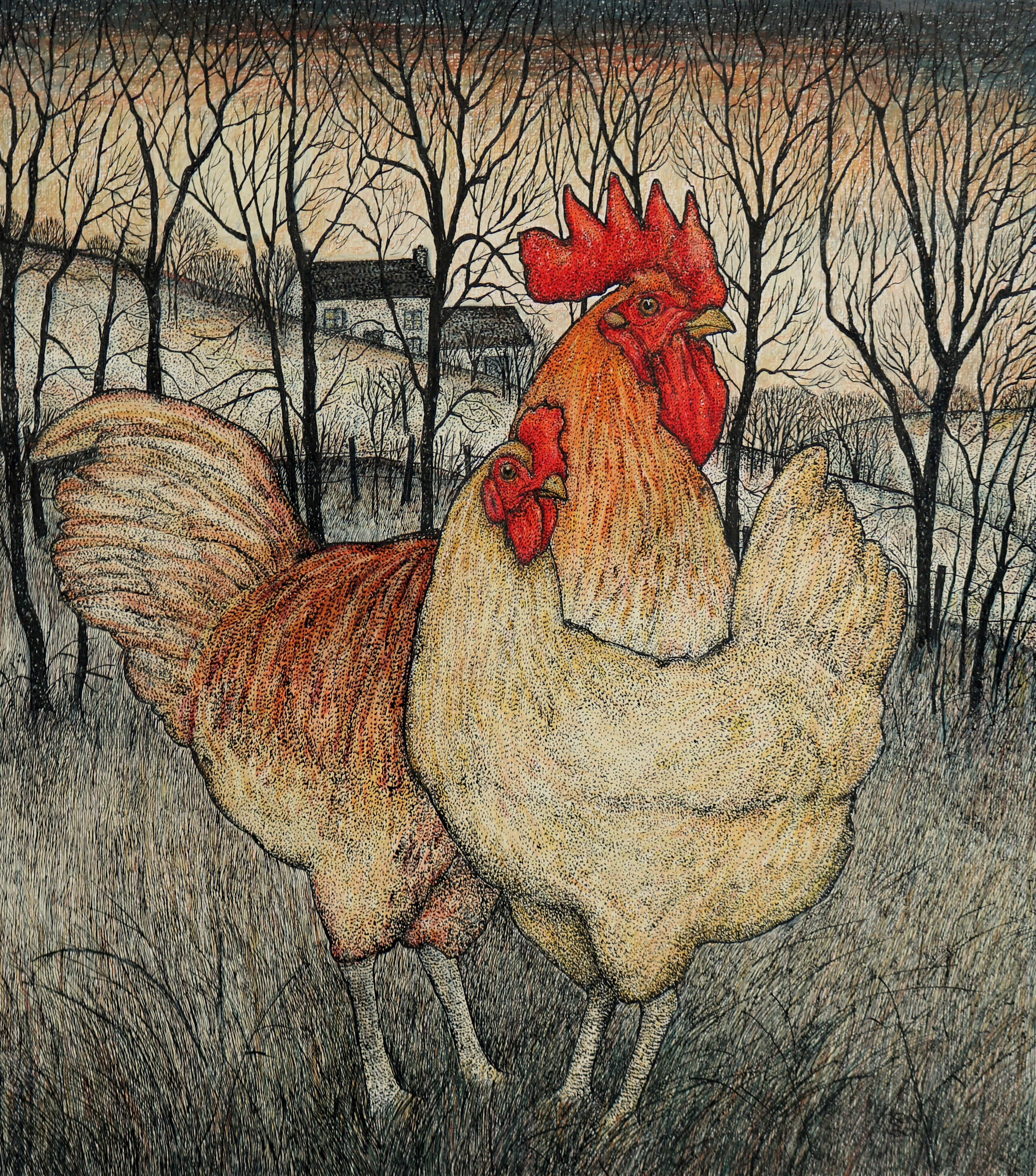 Original pen, ink and coloured pencil 'Roosters'