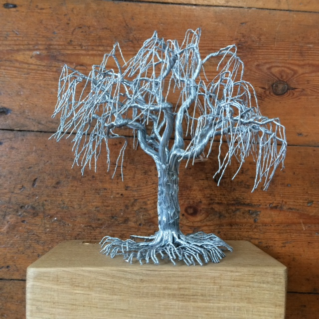 Unique Wire Willow Tree in Stainless Steel on oak base