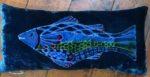 Hand painted silk velvet Fish cushion