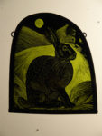 Stained Glass Panel 'Full Moon Hare'
