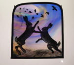 Stained Glass Panel 'Twilight Boxing Hares'