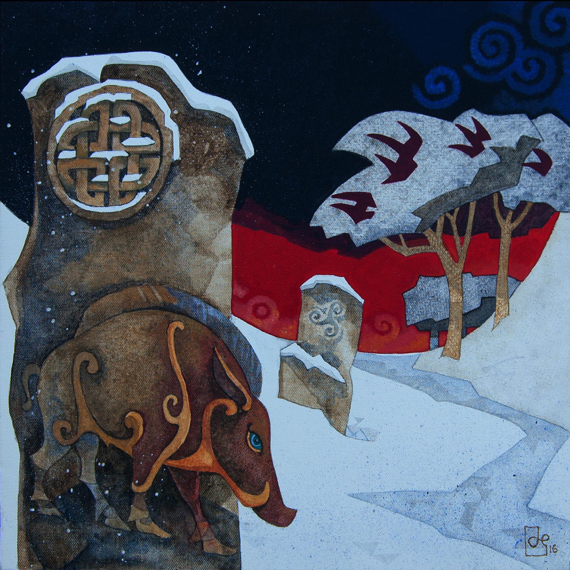 Original Acrylic on Canvas 'Boar-Stones'