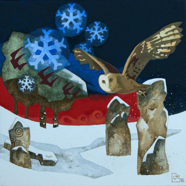 Original Acrylic on Canvas 'Owl-stones'