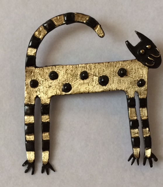 Brass & Bronze Greek Cat Brooch
