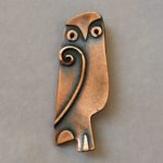 Copper Perching Owl Brooch