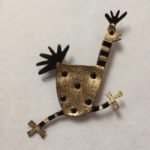 Brass & Bronze Running Chicken Brooch