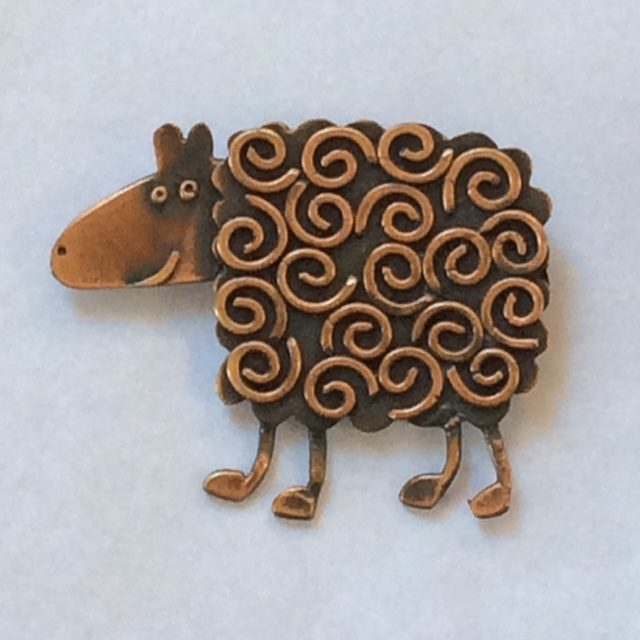 Copper Curly Sheep Brooch