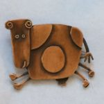 Copper Running Happy Cow Brooch