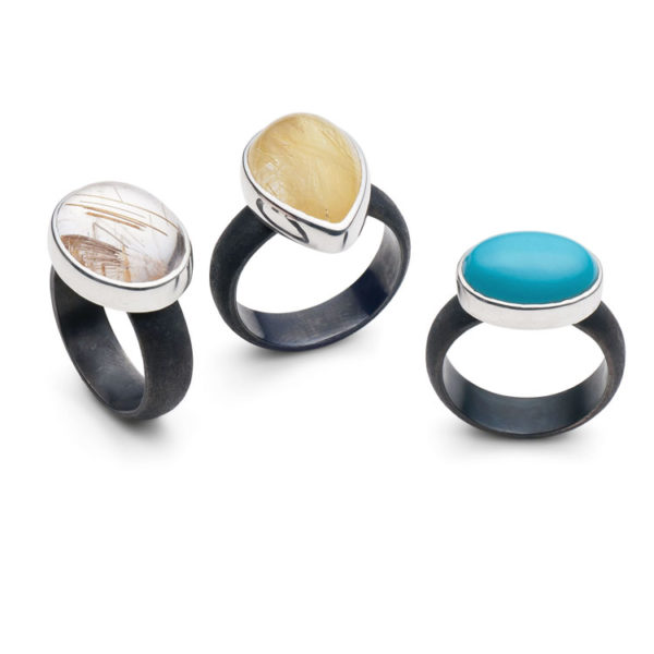 Silver Rings set with semi precious stones