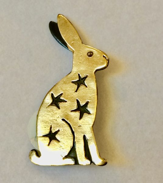 Brass & Bronze Sitting Hare Brooch