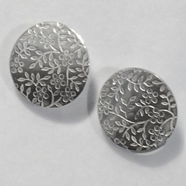 Silver Circular Floral Print Stud Earrings