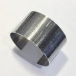 Silver Cuff with Oxidised Wave Print
