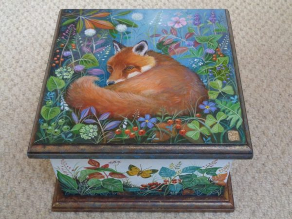 Hand Painted Wooden Box 'Evening Fox'