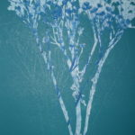 Coloured Monoprint - Dropwort in Turquoise and Blue