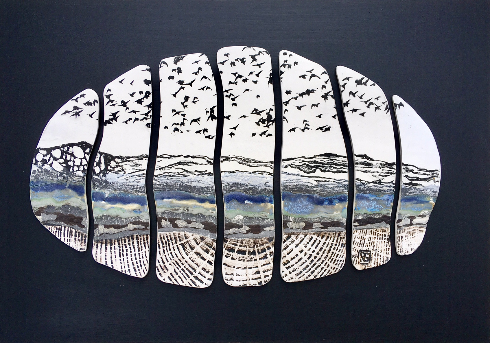 Ceramic Wall Art Murmurations over Landscape