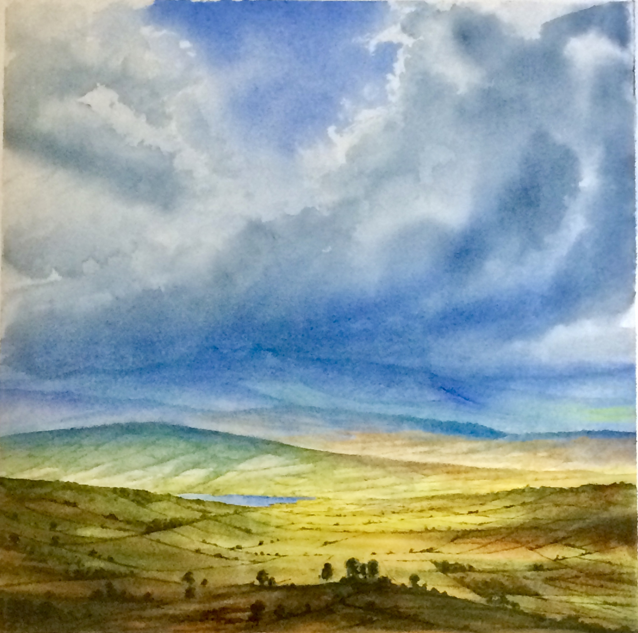 Watercolour 'Llangorse' Brecon Beacons